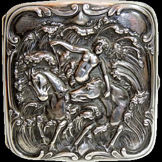 Art Nouveau Sterling Silver Cigarette Case Nude, Sea Nymph, Horses, Repousse