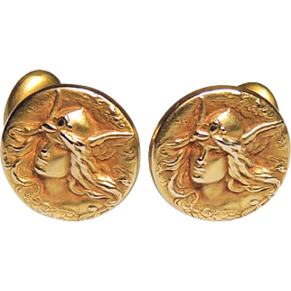 10k Victorian, Art Nouveau Mercury or Hermes, God Cufflinks, Repousse, Bloomed Gold, Cuff Links