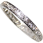 Vintage Diamond & Platinum Eternity Band, Size 5&1/4, .84 ctw, Engraved, Stack, Stacker, Wedding, Anniversary Ring
