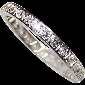 Vintage Diamond & Platinum Eternity Band, Size 5&1/4, .84 ctw, Engraved, Stack, Stacker, Wedding, Anniversary Ring