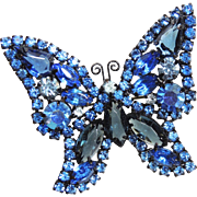 Signed Weiss Butterly Brooch, Pin, Blue, Japanned Enamel