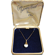 Vintage Floating Opal Pendant in Original Box, 12k Gold Filled, GF, Opals, Necklace