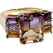 14K Emerald Cut Ametrine, Citrine, Amethyst, Diamond Ring, size 8, Yellow Gold