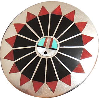 F.L. Natachu Zuni Sunface Brooch, Pin, Pendant, Native American, Sterling Inlay