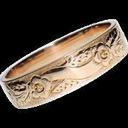 """Victorian, Edwardian Gold Filled Bangle Bracelet, Engraved, Floral, RGP 5/8"""" Wide, FMCO"""