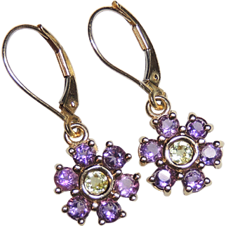 10K Yellow Gold Amethyst & Peridot Flower Earrings, Pierced