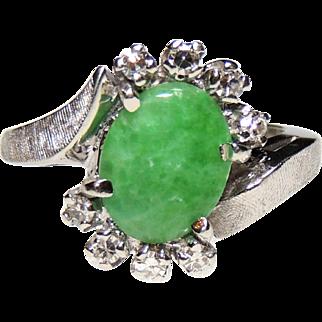 Mid Century 14k Apple Green Jade & Diamond Ring, 14kt White Gold, sz 6