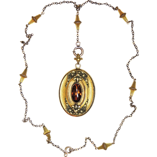 Victorian Jeweled Photo Locket w/ Period Chain, GF, Gold Filled, Floral, Necklace, Pendant