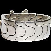 Rare Antonio Pineda Modernist Sterling Silver Bracelet, Puzzle Link, ZZ 616, Taxco Mexico