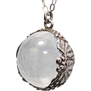 """Antique Pools of Light Rock Crystal Pendant, Undrilled, Sterling Silver Grapes Bezel, 1/2"""", Fob"""