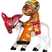 Mexican on a Donkey Brooch  Pin, Bakelite, Lucite, Wood, Hand Painted, Burro, Latino