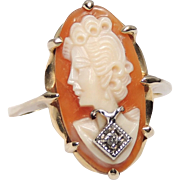 14K En Habille Cameo Ring, Carved Shell, Diamond Pendant, Size 8&3/4, Yellow Gold