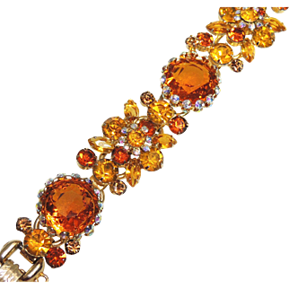 Juliana, DeLizza & Elster Framed Disks Five Link Bracelet, Citrine & Topaz Colors, Gold, Orange, Disk
