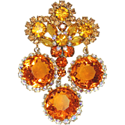 Juliana, DeLizza & Elster Framed Disks Five Link Brooch / Pin / Pendant, Citrine & Topaz Colors, Gold, Orange, Disk