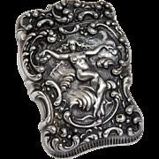 Antique Unger Bros Sterling Silver Vesta, Match Safe, Nude, Sea Nymph, Siren, Waves, Art Nouveau