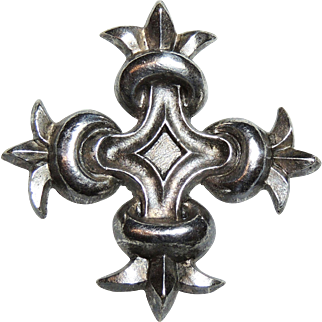 Paule Ingrand for Arthus-Bertrand Silver Cross Pendant, Paris France, 1940's, aka Paulette Rouquie
