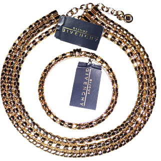 Bijoux Givenchy 1980's Parure, Triple Strand Necklace and Bangle Bracelet, NWT Chunky Gold Tone Mesh