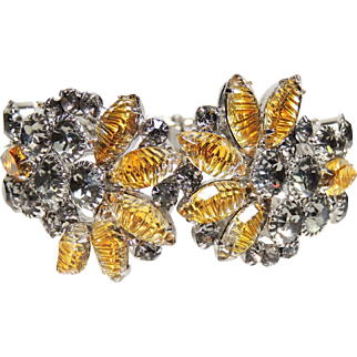Gorgeous! D&E Juliana Clamper Bracelet, Silver & Yellow Art Glass Rhinestones, DeLizza & Elster