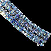 "Signed Sherman Bracelet, Blue Aurora Borealis Rhinestones, Silver Tone, 1"""