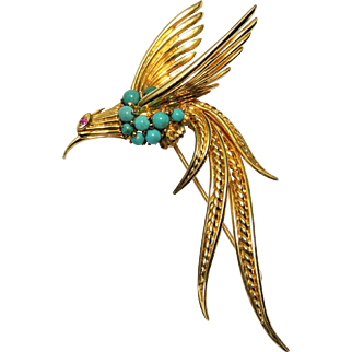 Vintage 18k Bird Brooch w/ Persian Turquoise & Ruby, Pheasant, Yellow Gold, 10.8 Grams, 2.5""