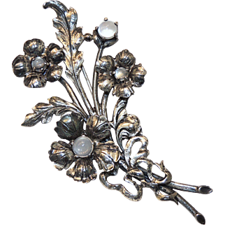 Guglielmo Cini Signed Flower Bouquet Pin / Brooch, Moonstone & Sterling Silver