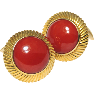 18k Red Coral Cufflinks, Large Cabochons, 18kt Yellow Gold, 750, 22 Grams, Cuff Link, Sardinia
