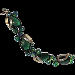 Signed Schiaparelli Emerald Green Cabochon Bracelet, Silver & Gold Tone