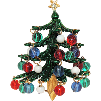 Signed Hattie Carnegie Enamel Christmas Tree Brooch / Pin, Bead Ornaments, Book Piece