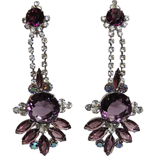 "Vintage Rhinestone Shoulder Duster Earrings, Purple & Crystal, Clip Back, 4"", Prom, Wedding, Dangling, Chandelier"