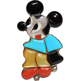 Signed Mary Ann Poncho Zuni Mickey Mouse Ring, Sterling Silver, Turquoise, Coral, MOP, Onyx