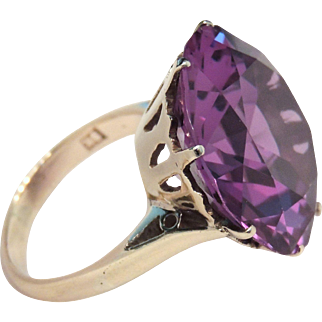 Retro 9K Gold, 24ct Simulated Alexandrite Ring, sz 5&1/4, 9ct, Color Change