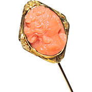 Antique 10K Carved Coral Cameo Stick Pin, Stickpin, Brooch, Yellow Gold, Lady, High Relief