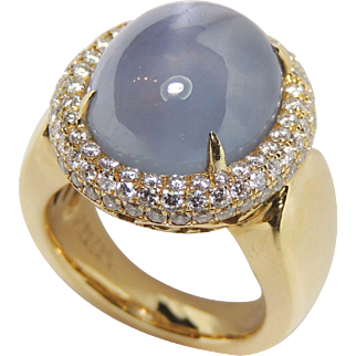 Exceptional 18k Natural Star Sapphire & Diamond Halo Ring, Designer F. Lauh. K., sz 6.75