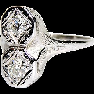 18K Toi et Moi Deco, Edwardian Two Diamond Ring, 18kt White Gold, Engraved Filigree