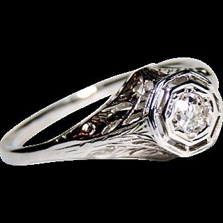 18k Art Deco Filigree Diamond Ring, 18kt White Gold, sz 10, 1/4 ctw