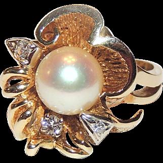 14k Custom 9mm Pearl & Three Diamond Ring, sz 6&1/4, 14kt Yellow Gold