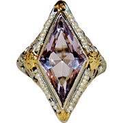 14K Art Deco Filigree Amethyst & Seed Pearl Ring, 14kt White & Yellow Gold, sz 6