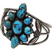 Ramon Platero Navajo Cuff Bracelet, Sterling & Turquoise, Native American