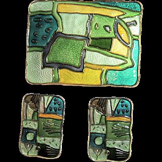 David Andersen D-A Norway, Four Seasons Brooch / Pin & Earrings, Summer, Green Enamel