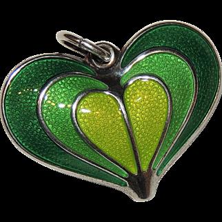 David Andersen Sterling Silver Heart Pendant, Green Guilloche Enamel, Norway