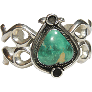 Native American Sand Cast Sterling & Green Turquoise Cuff Bracelet, Sandcast, Navajo
