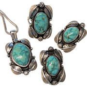Signed Gary Savage Sterling & Turquoise Parure, Pendant, Ring, Earrings, Southwestern, Native American