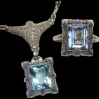 Art Deco Sterling Filigree Pendant & Ring, Blue Stone, Silver Paper Clip Chain