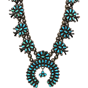 Zuni Squash Blossom Necklace, Turquoise, Smaller Size, 1970's, Native American