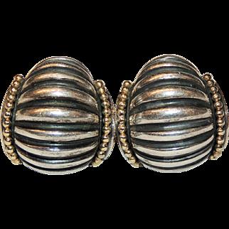 Lagos Caviar Huggie Style Earrings, Sterling & 18k, Pierced Omega Back