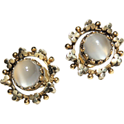 Antique 14k Cabochon Moonstone Earrings, Pierced, 14kt Yellow Gold, Victorian