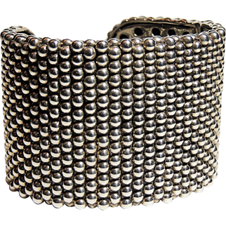 "Lagos Caviar 2"" Wide Hinged Cuff Bracelet, Sterling Silver, Rare! Hard to Find"
