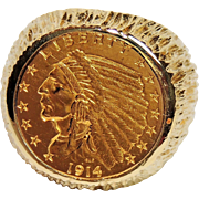 1914 D Indian Head Gold Coin Ring, 2 1/2 Dollars, 14K Mount. size 7.5, 20.7 grams