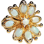 Vintage 14K Yellow Gold Natural Opal Ring, sz 5&1/4, Mid Century