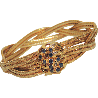 Gorgeous 18K Yellow Gold & Sapphire Braided Bracelet. 51 grams. 18kt, 750